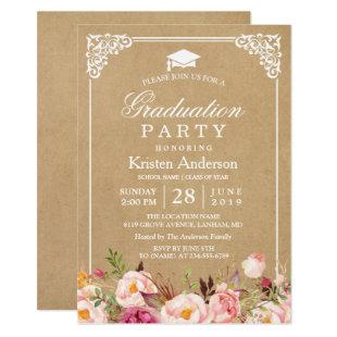 2020 Graduation Party | Rustic Floral Frame Kraft Invitation