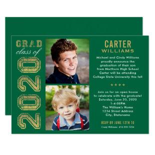 2020 Green and Gold Photo Graduation Party Invitation