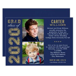 2020 Navy and Gold Photo Graduation Party Invitation