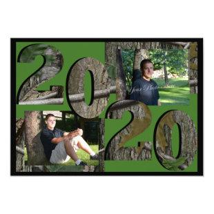 2020 Tree Camo Graduation Twin Photo Hunter Green Invitation