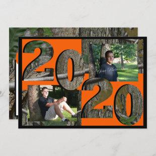 2020 Tree Camo Graduation Twin Photo Hunter Orange Invitation