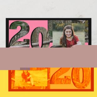 2020 Tree Camo Graduation Twin Photo Pink Invitation