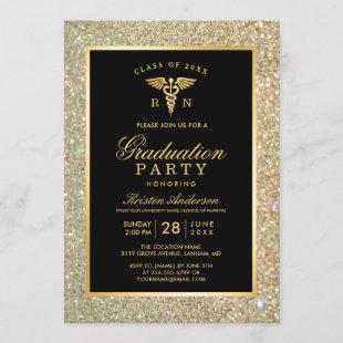 2021 Gold Medical Nursing School Graduation Party Invitation