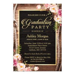 2021 Graduation Party Floral Rustic Country Wooden Invitation