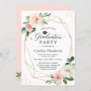 2021 Graduation Party Girly Blush Pink Floral Invitation