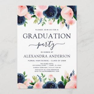 2021 Graduation Party Navy Blue Blush Pink Floral Invitation