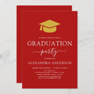 2021 Graduation Party Red Gold Color Option Invitation