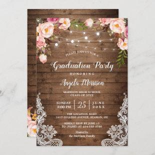 2021 Graduation Party Rustic Floral String Lights Invitation