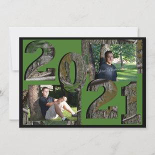 2021 Tree Camo Graduation Twin Photo Hunter Green Invitation