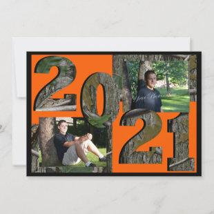 2021 Tree Camo Graduation Twin Photo Hunter Orange Invitation