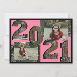 2021 Tree Camo Graduation Twin Photo Pink Invitation