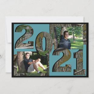 2021 Tree Camo Graduation Twin Photo Teal Invitation