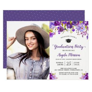 2021 Violet Purple Floral Photo Graduation Party Invitation