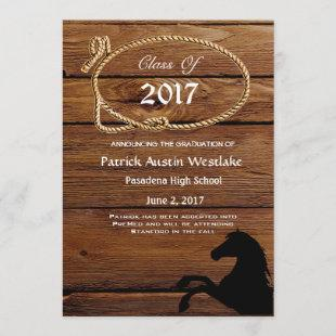 20XX Wood, Rodeo Style Graduation Announcement