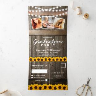 2 in 1 Rustic Sunflower 2021 Graduation Tri-Fold Invitation