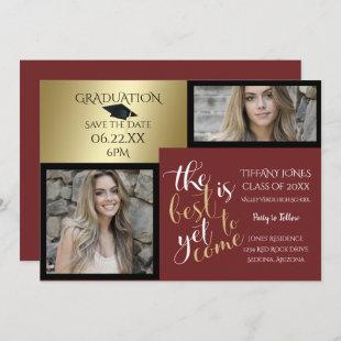 2 PHOTO and CHOOSE YOUR COLOR Burgundy Graduation Invitation