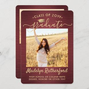 2 Photo Burgundy and Gold Graduation Announcement