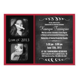 2 Photo Chalkboard Graduation Black and Red Invitation