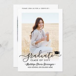 2 Photo Drive-By Graduation Parade Simple Modern Invitation