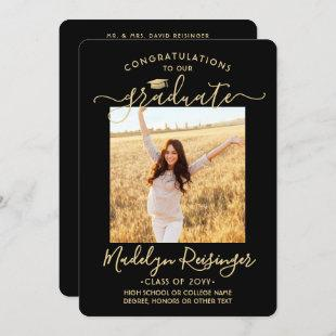 2 Photo From Parents Black and Gold Graduation Announcement