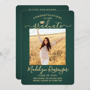 2 Photo From Parents Green and Gold Graduation Announcement