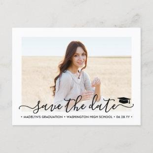 2 Photo Graduation Modern Script Save the Date Announcement Postcard
