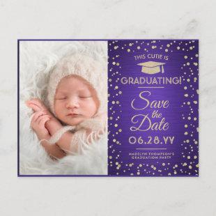 2 Photo Graduation Save the Date Purple and Gold Announcement Postcard