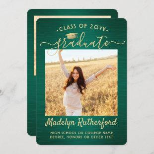 2 Photo Green and Gold Graduation Announcement
