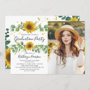 2 Photo Greenery Sunflowers Graduation Party Invitation