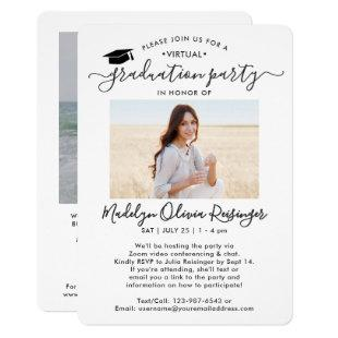2 Photo Virtual Graduation Party Modern Script Invitation