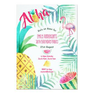 30th Tropical Pineapple Birthday Invites Flamingo