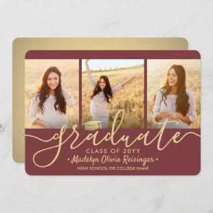 3 Photo Collage Burgundy and Gold Graduation Party Invitation