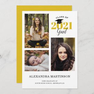 3 Photo Collage Gold and Black Graduation Party Invitation
