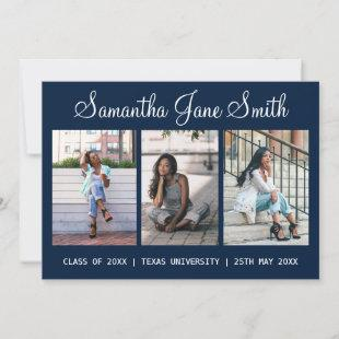 4 Photo (3+1) Hand Lettered Name Blue Graduation Announcement