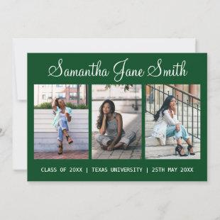 4 Photo (3+1) Hand Lettered Name Green Graduation Announcement