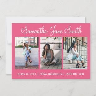 4 Photo (3+1) Hand Lettered Name Pink Graduation Announcement
