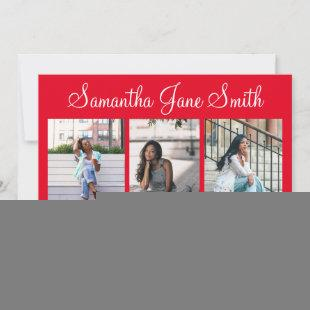 4 Photo (3+1) Hand Lettered Name Red Graduation Announcement