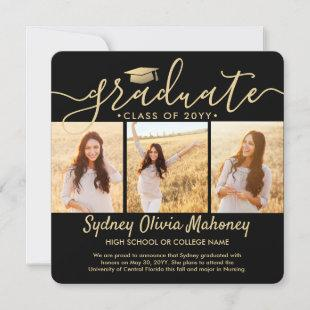 4 Photo Collage Modern Black and Gold Graduation Announcement