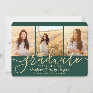 4 Photo Collage Script Green and Gold Graduation Announcement
