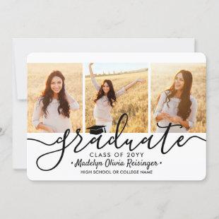 4 Photo Collage Simple Modern Script Graduation Announcement