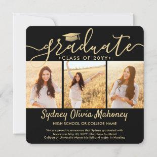 4 Photo Graduation Collage Modern Black and Gold Announcement