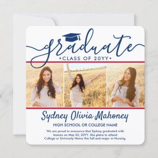 4 Photo Graduation Collage Modern Red White & Blue Announcement