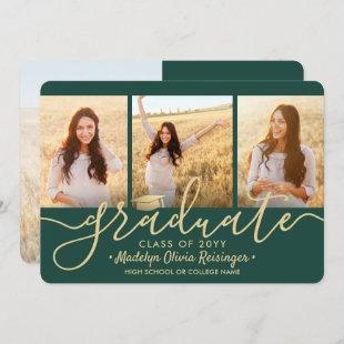 4 Photo Graduation Collage Script Green and Gold Announcement