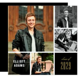 4 Photo Minimalist Color Square Graduation Party Invitation