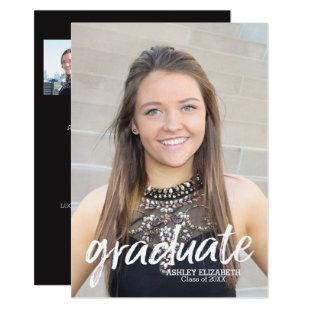 4 Photo Trendy Graduation Announcement vertical
