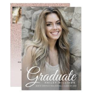 4 Photo Trendy Pink Chic Glitter Graduation Party Invitation
