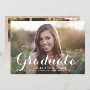 4 Photo Trendy Pink Chic Graduation Party Invitation