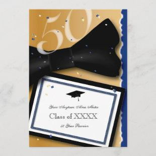 50 Year Class Reunion Royal Blue Accent Color Invitation