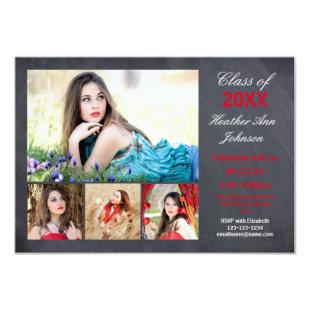 5 Photos Collage - 3x5 Graduation Announcement
