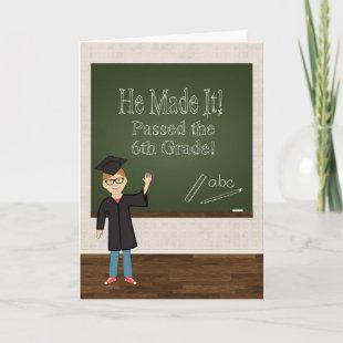 6th Grade Graduate with Cartoon Boy and Chalkboard Announcement